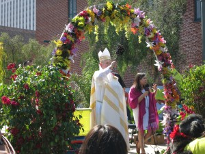 You take the dog to Olvera Street every year on the Saturday before Easter for the Blessing of the Animals.