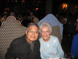 Ray and Margaret Arakawa at their 50th wedding anniversary party at the Tam O'Shanter Inn, where they met.